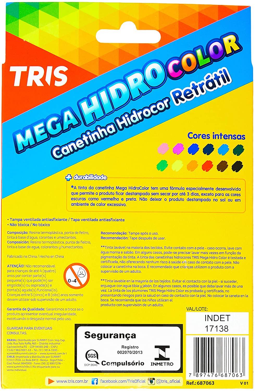 Tris Caneta Hidrográfica Mega Soft Hidrocolor 12 Cores 7897476687063