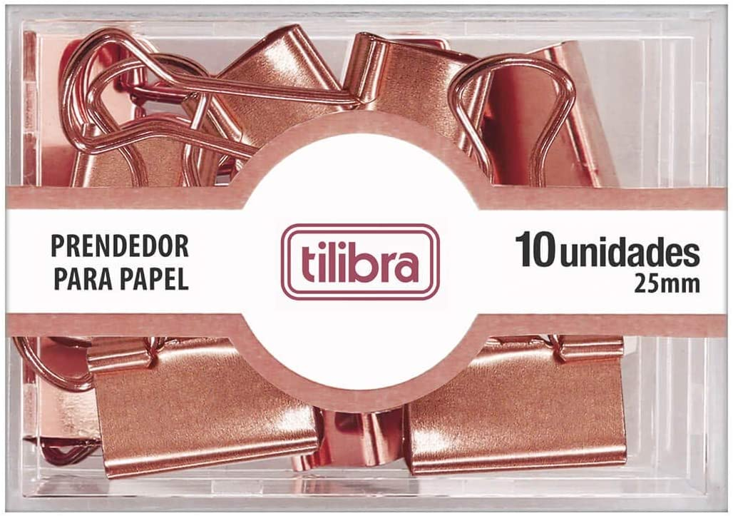 Prendedor de Papel 25mm Ouro Rose 10 Unidades, Tilibra