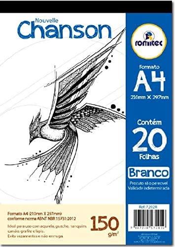 Romitec 7202R, Bloco para Desenhos A4, 20Folhas, 210 x 297 mm, Branco