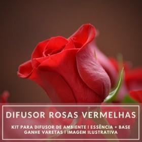 Essência Rosas Vermelhas + Base Perfume - Ganhe Varetas