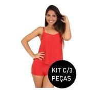 Kit C/3 Short Doll Baby Doll Julia Pijama Estampado