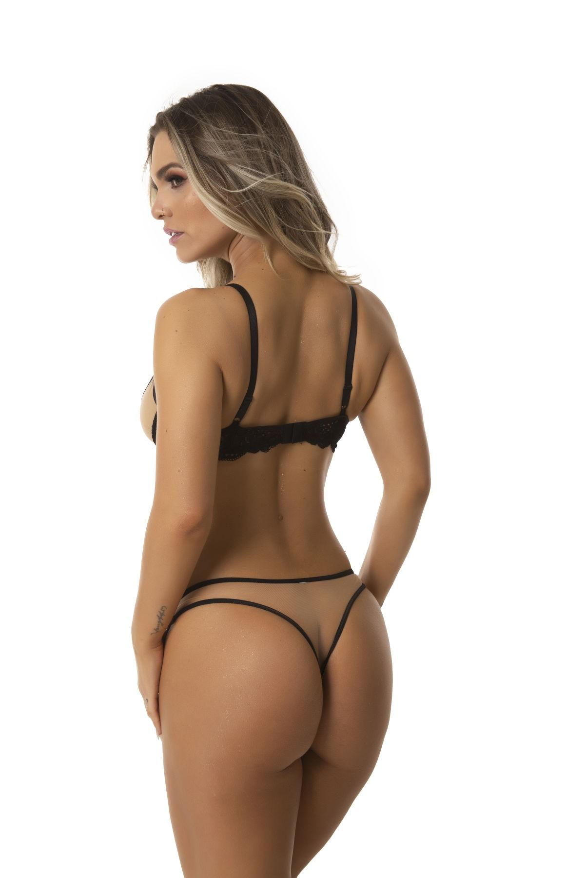 Conjunto Renda Neon Tuli Rebeca Sexy Lingerie Moda intima