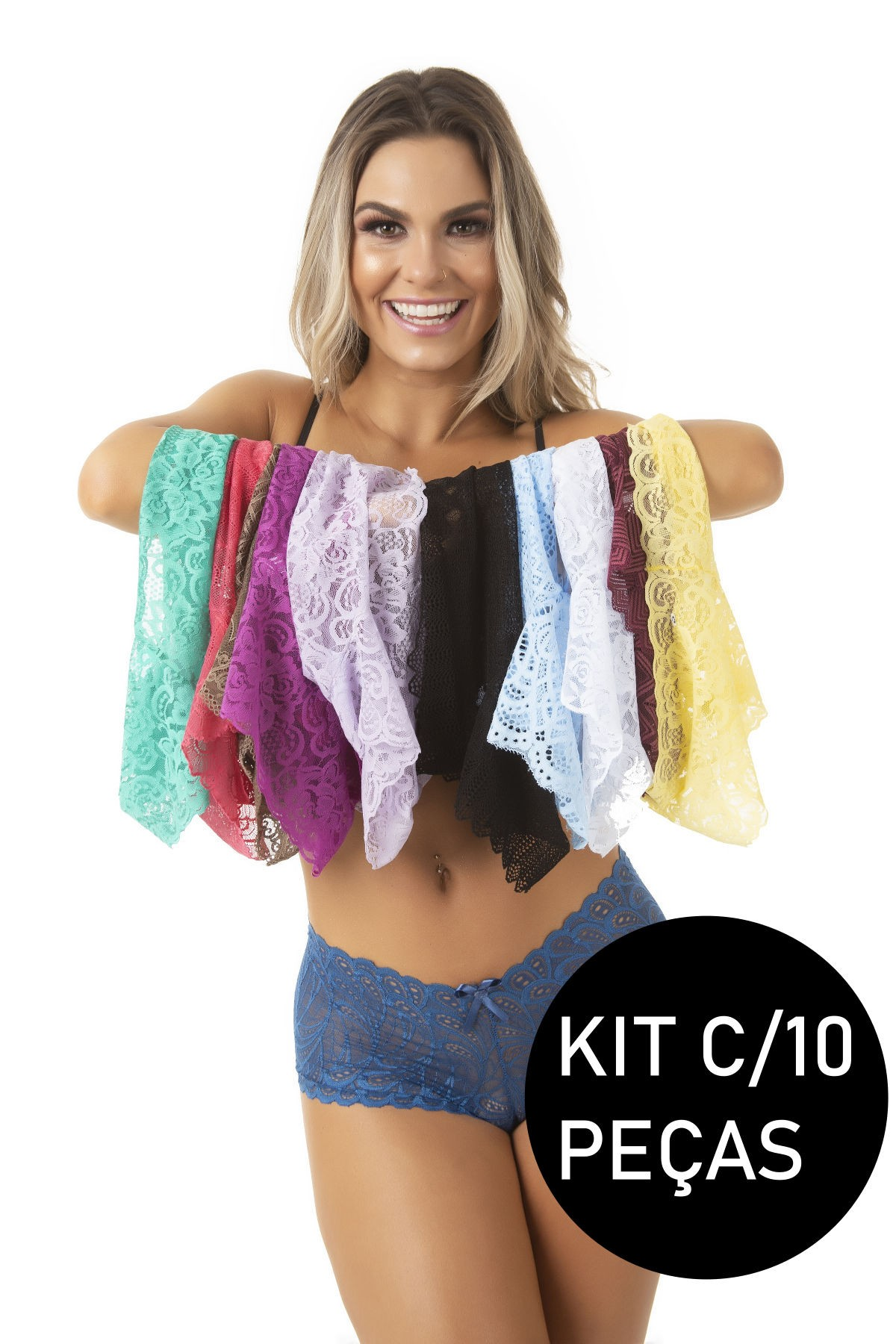 Kit C/10 Calcinhas Short De Renda Sexy Calesson