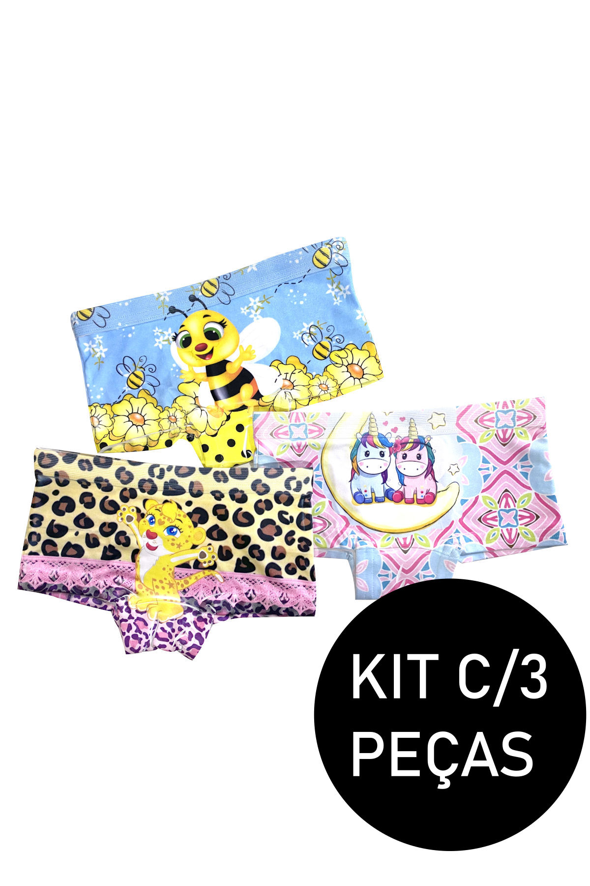 Kit C/3 Calcinha Shortinho Infantil Sublimado Menina