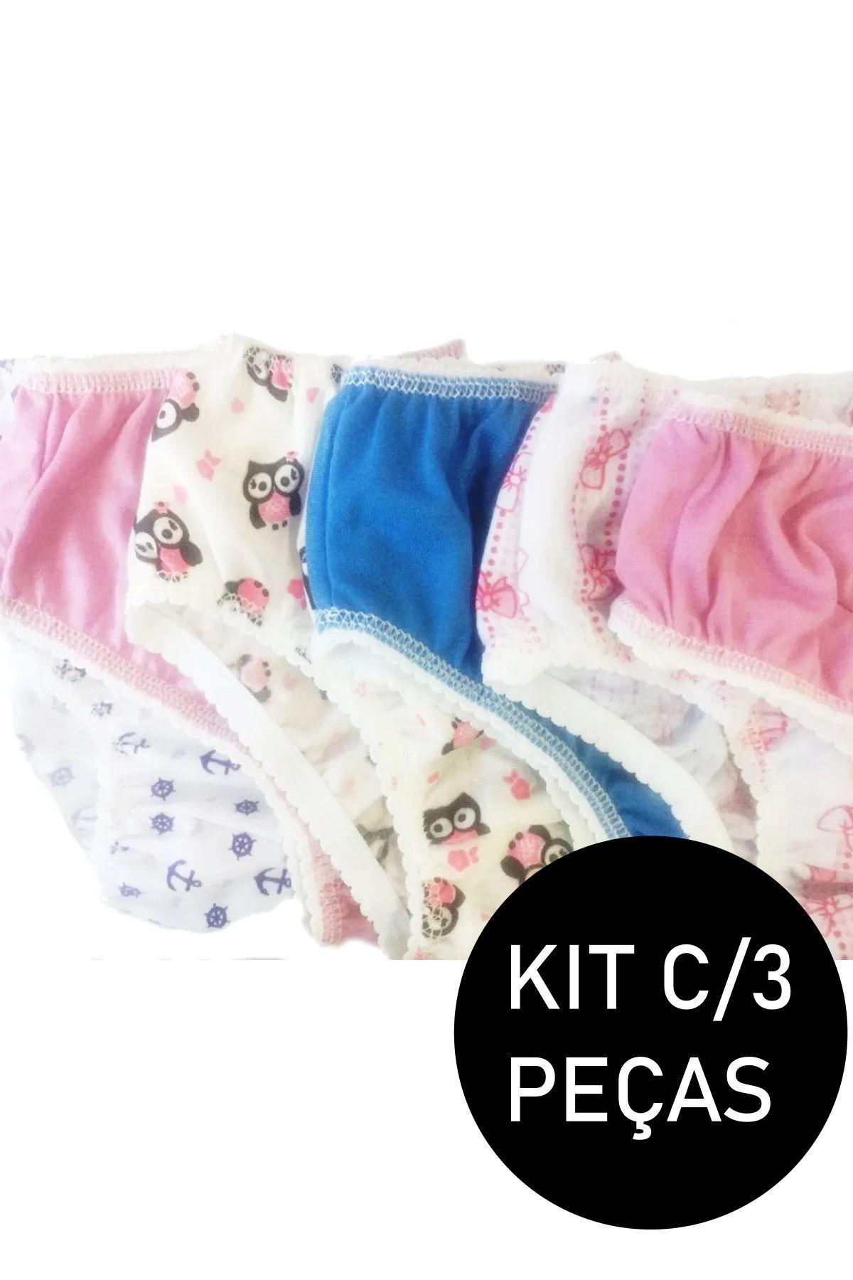 Kit C/3 Calcinhas Infantil Malha