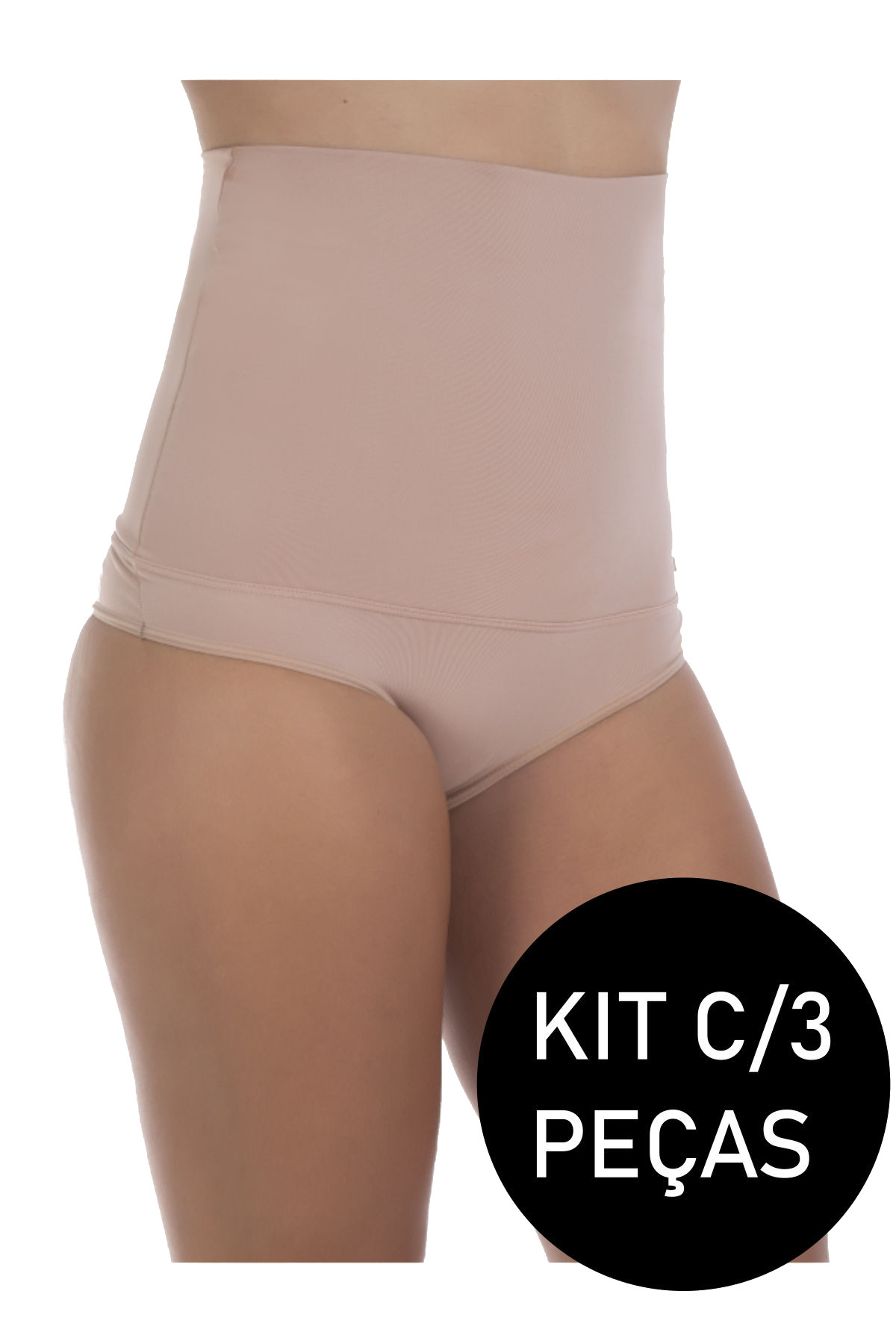 Kit C/3 Cinta Modeladora Feminina Cintura Alta Aperta