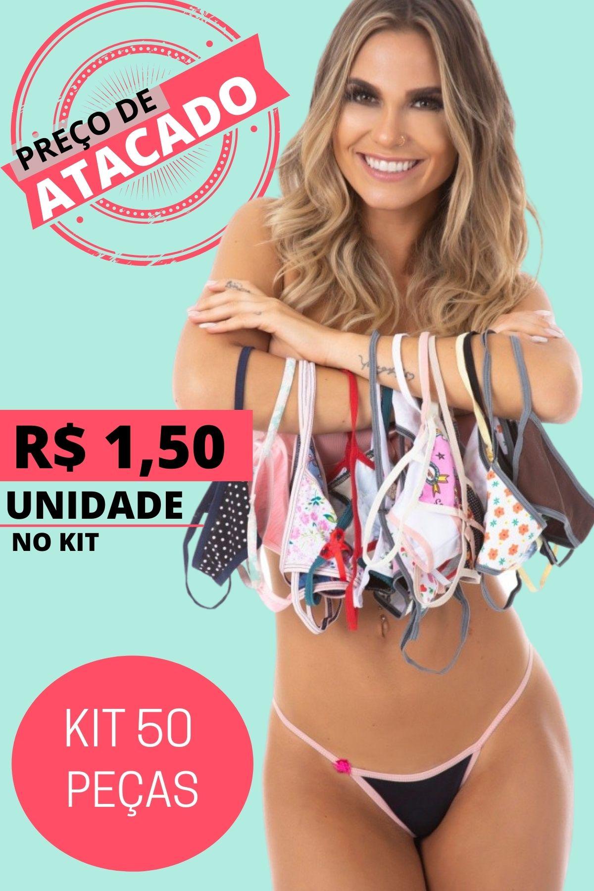 Kit C/50 Calcinhas Lingerie Revenda Atacado Luxo Promoção #1
