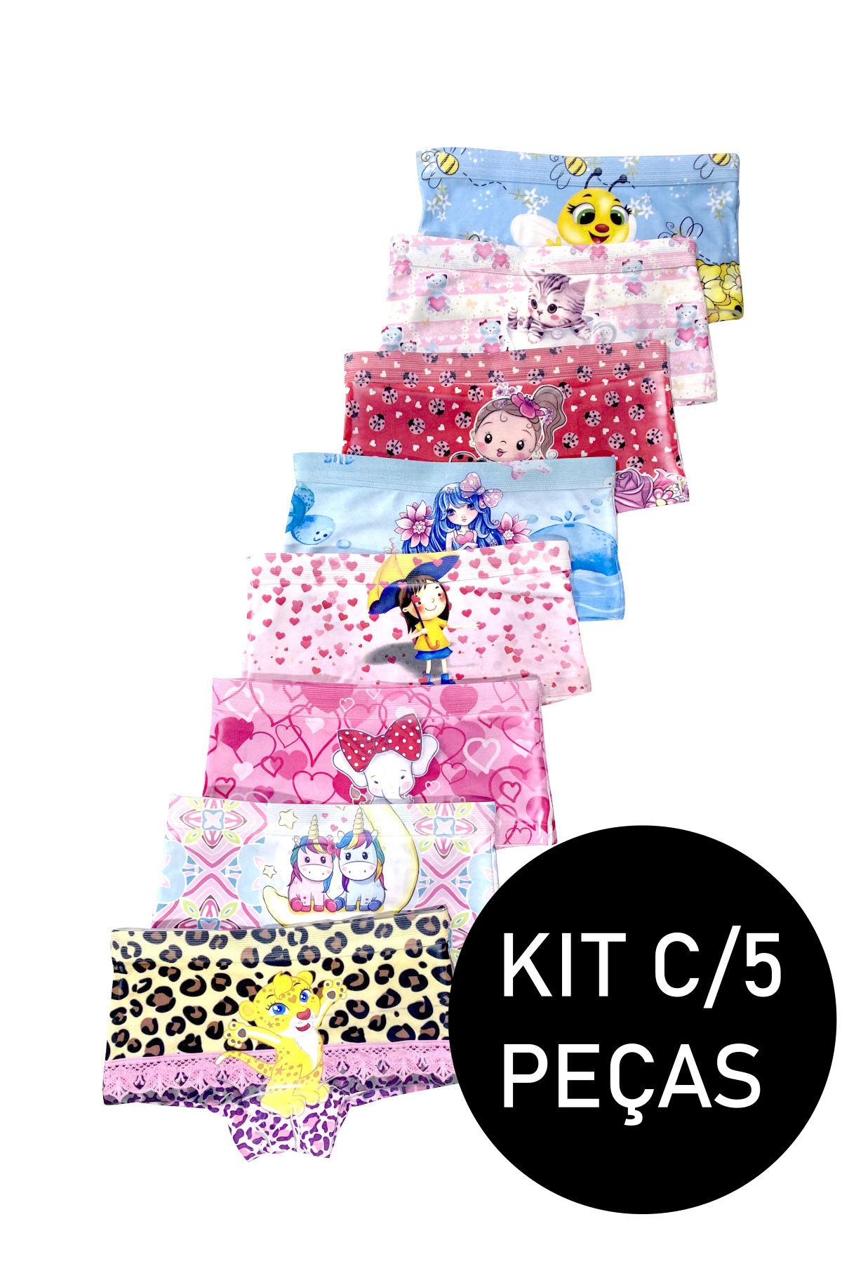 Kit C/5 Calcinha Shortinho Infantil Sublimado Menina