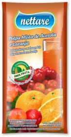 NETTARE - POLPA DE LARANJA C/ ACEROLA 100G  (PACOTE C/ 4 UND)