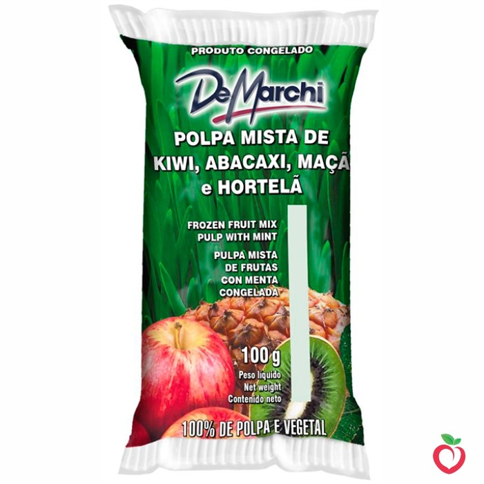 Kiwi, Abacaxi, Maçã e Hortelã - Polpa Mista de Fruta Congelada 100g