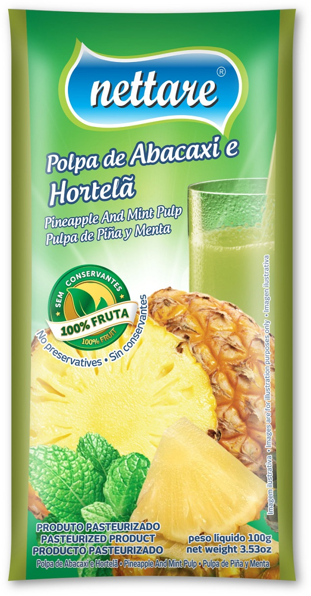NETTARE - POLPA DE ABACAXI C/ HORTELÃ  100G  (PACOTE C/ 4 UND)