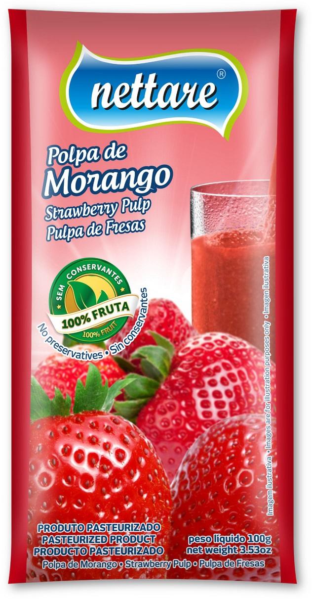 NETTARE - POLPA DE MORANGO 100G  (PACOTE C/ 4 UND)