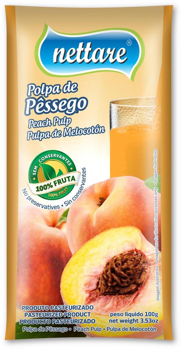 NETTARE - POLPA DE PÊSSEGO 100G  (PACOTE C/ 4 UND)