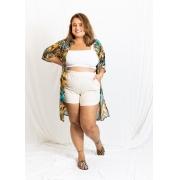 Kimono Chiffon Longo Fendas - AMARELO