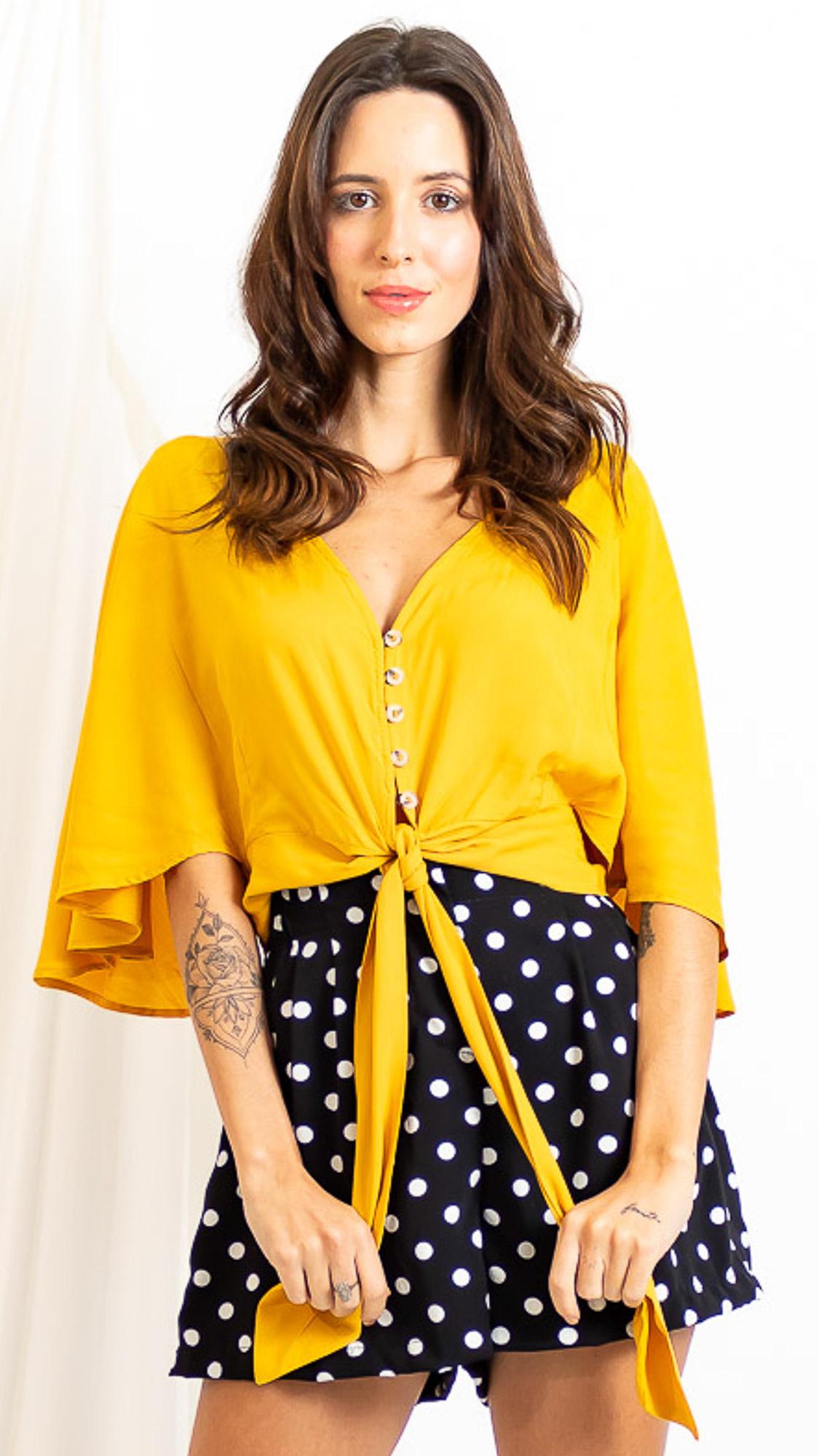 Blusa Botões Amarração Frente