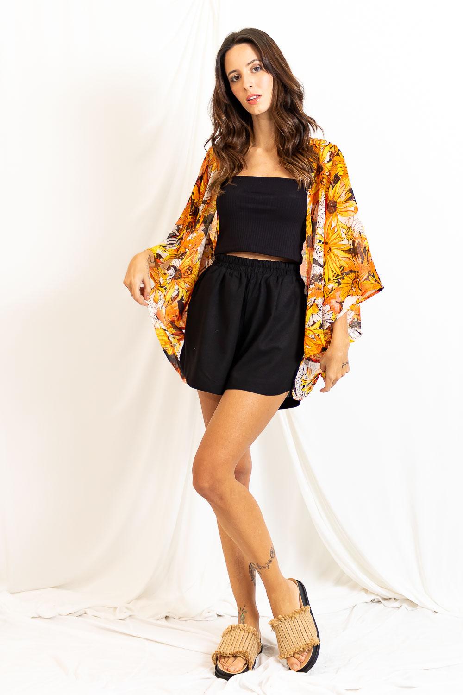 Kimono Chiffon Curto Amarração