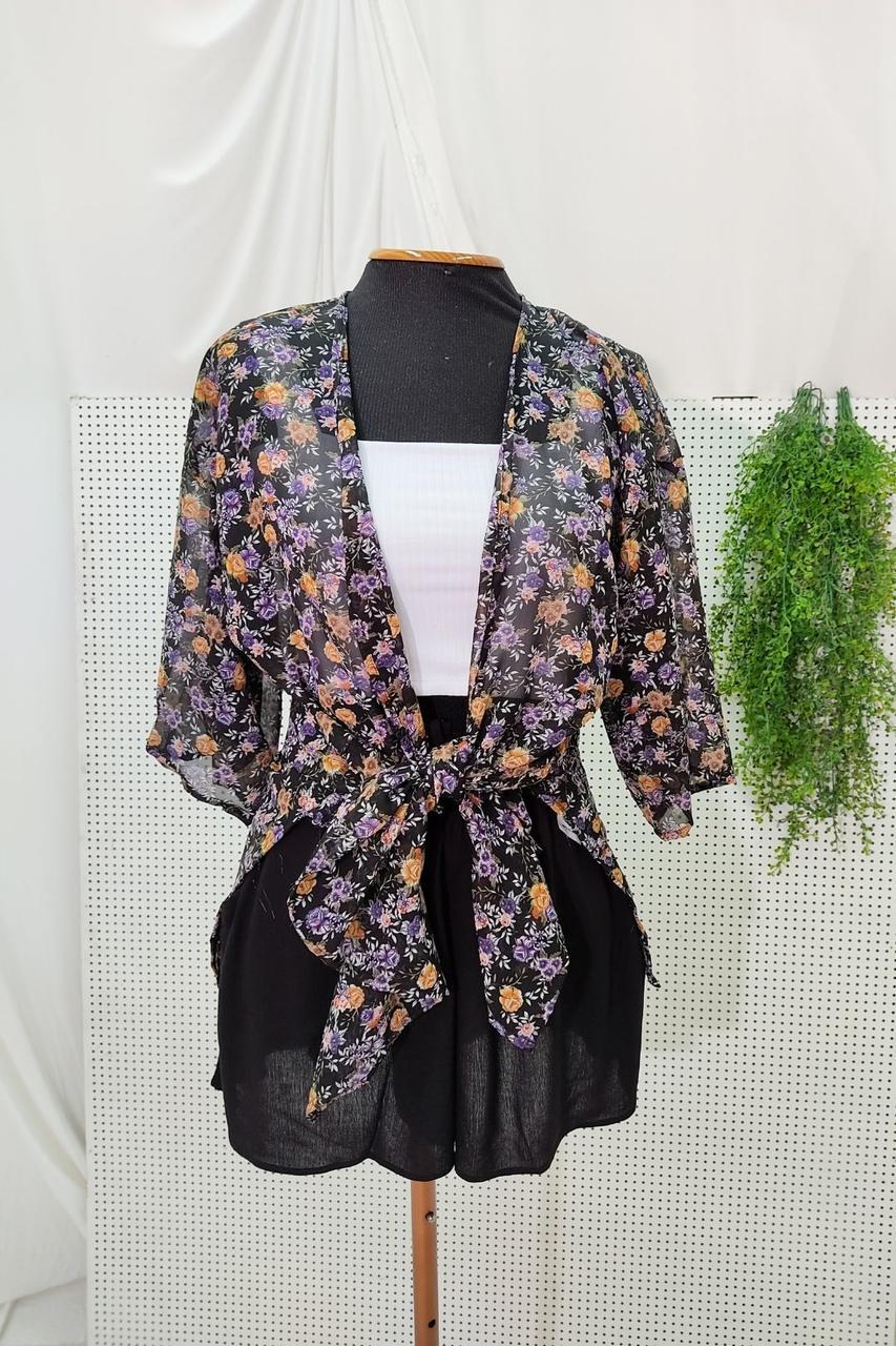 Kimono Chiffon Longo Fendas