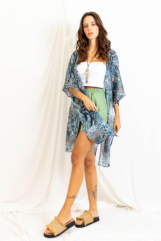 Kimono Chiffon Longo Fendas - AZUL