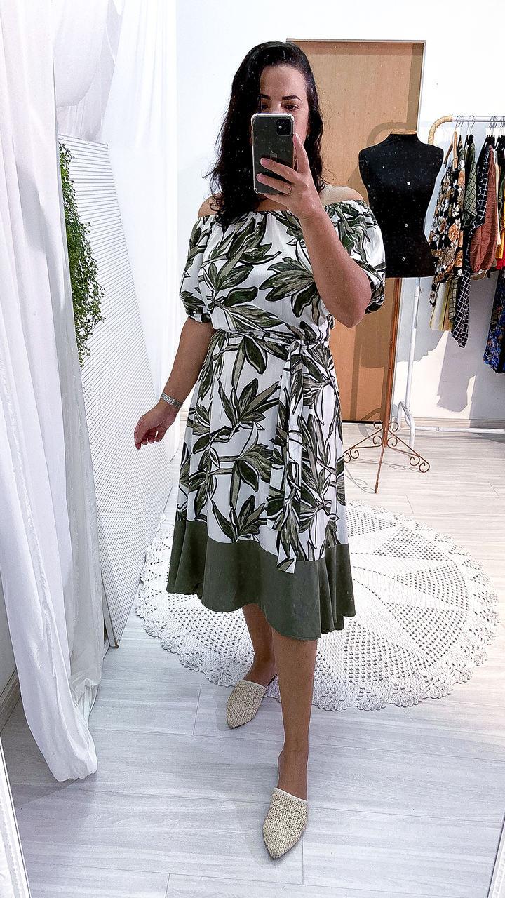 Vestido Bicolor Midi Babado Manga Bufante