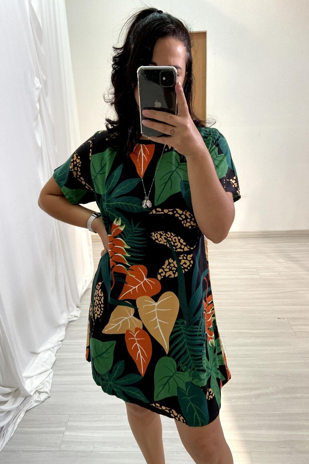 Vestido Manga Gola Viés