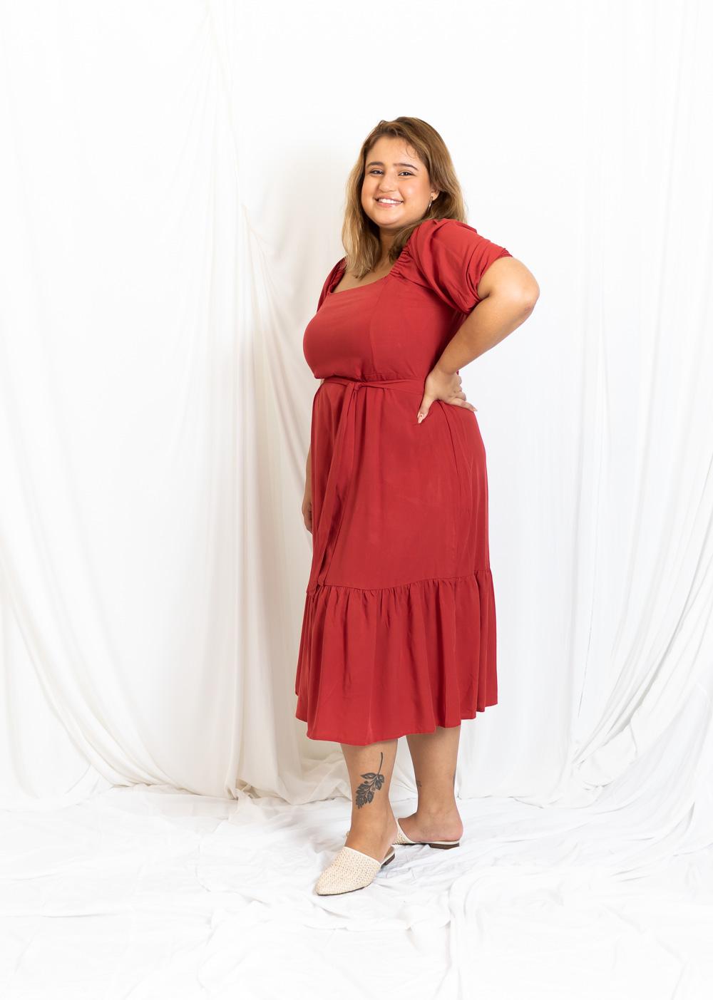 Vestido Midi Babado Manga Elástico