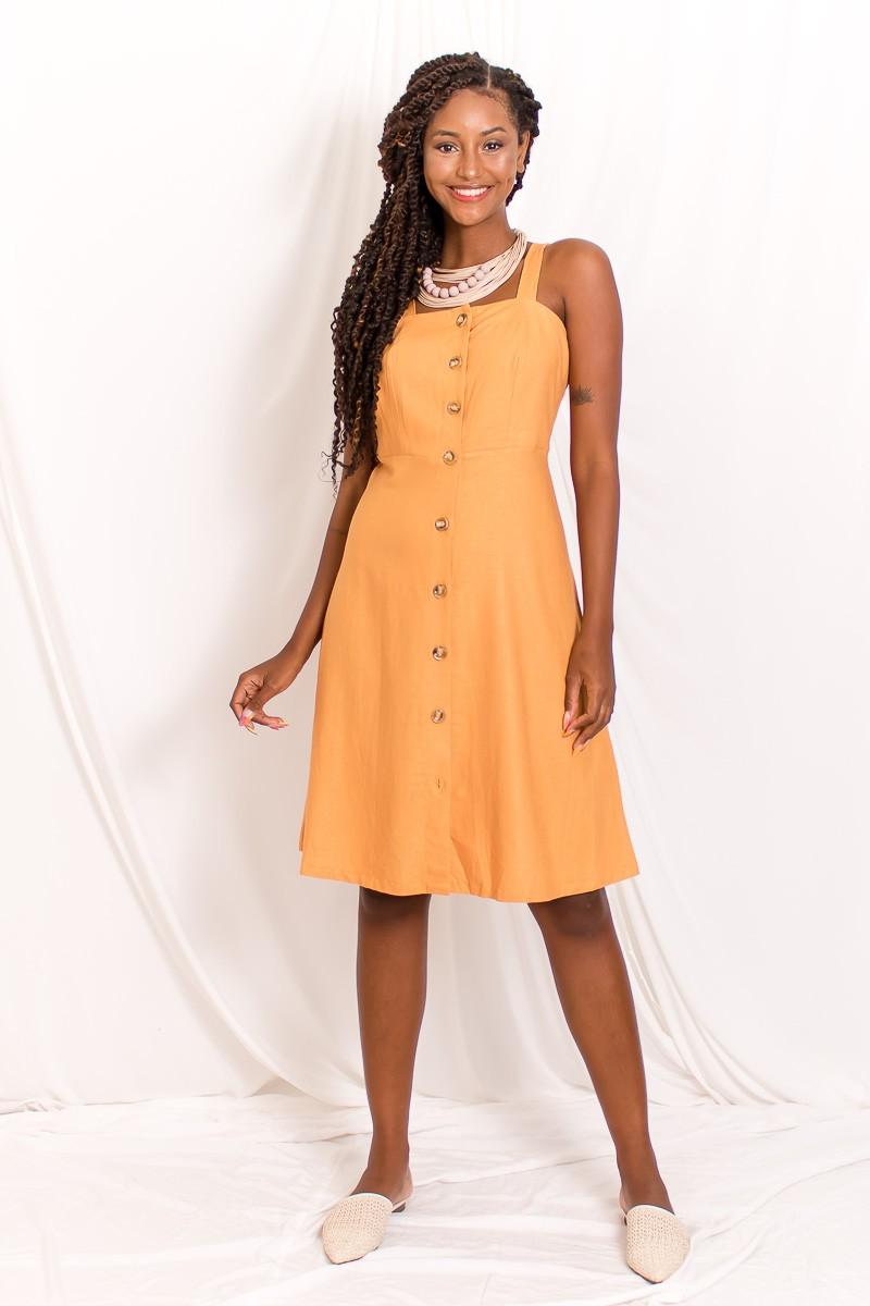 Vestido Midi Botões Linho