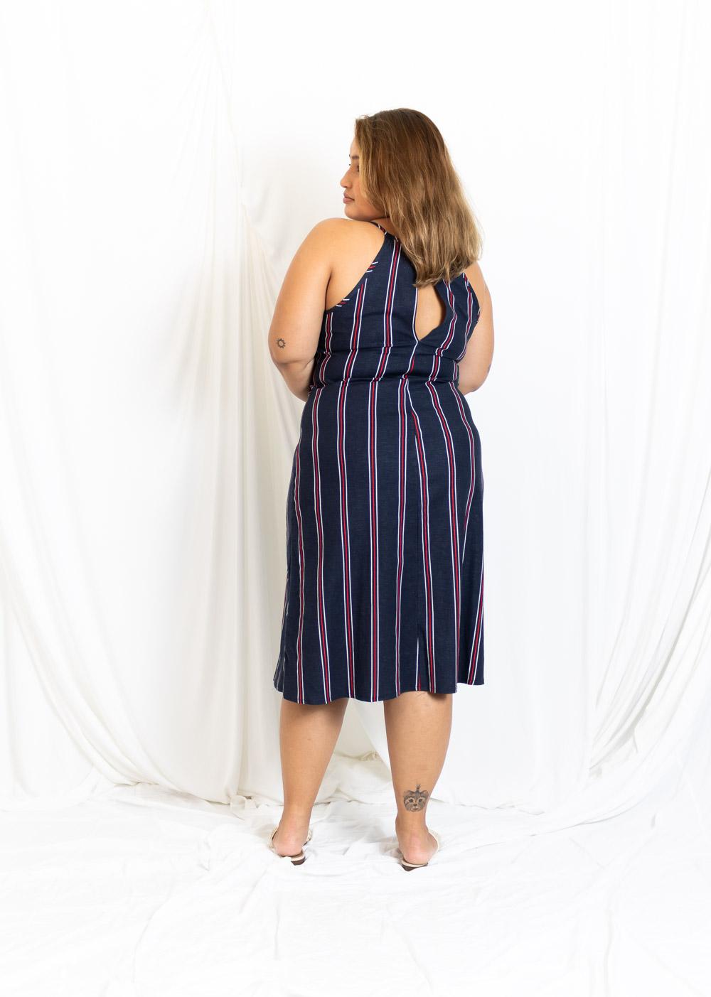 vestido Midi Linho Fendas