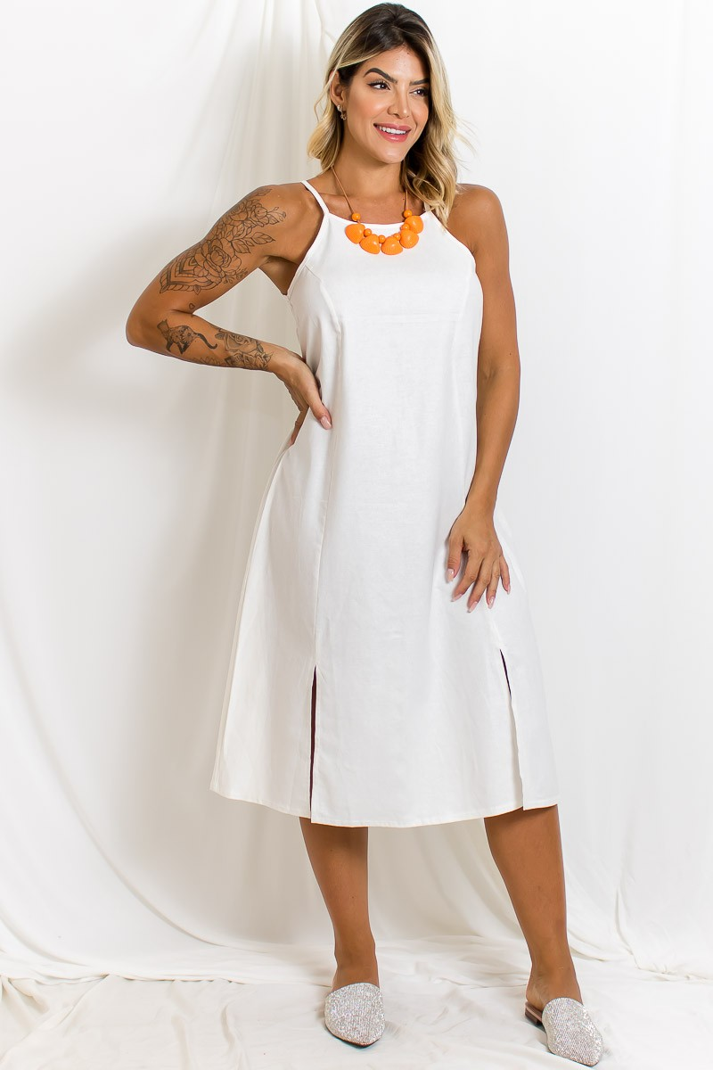 Vestido Midi Linho Liso