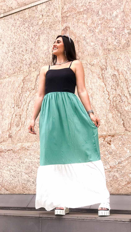 Vestido Tricolor Lastéx