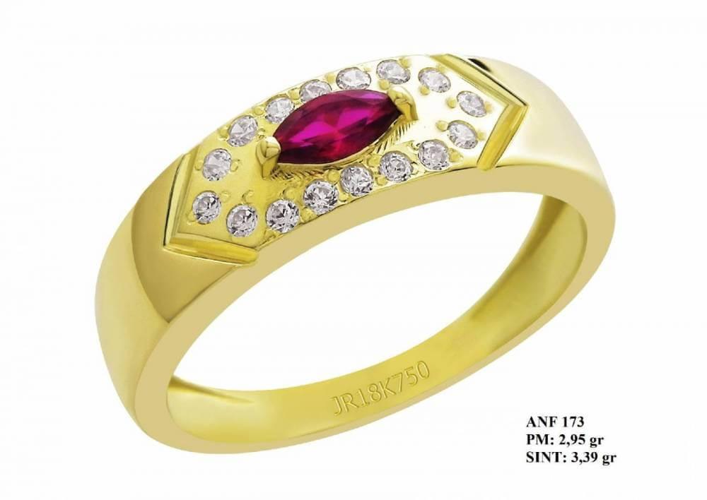 Anel de Formatura Bis em Ouro 18k Rubi e Brilhantes em Zircônia