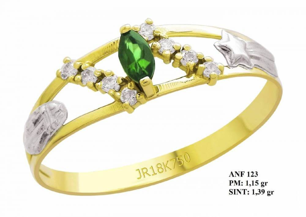 Anel de Formatura Cometa em Ouro 18k com Esmeralda e Brilhantes em Zircônia