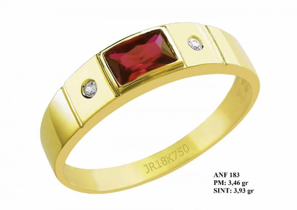 Anel de Formatura em Ouro 18k com Pedra Central Retangular Rubi e Brilhantes em Zircônia
