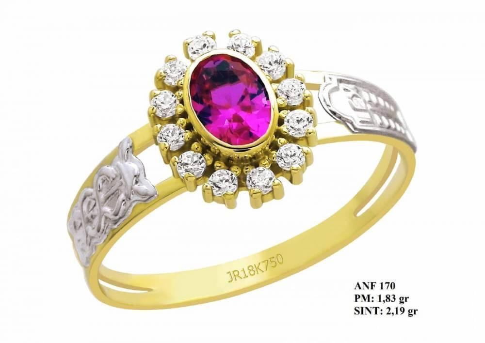 Anel de Formatura em Ouro 18k com Pedra Coroa de Rubi e Brilhantes em Zircônia