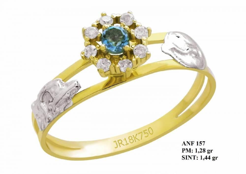Anel de Formatura em Ouro 18k com Pedra Redonda de Turmalina e Brilhantes em Zircônia
