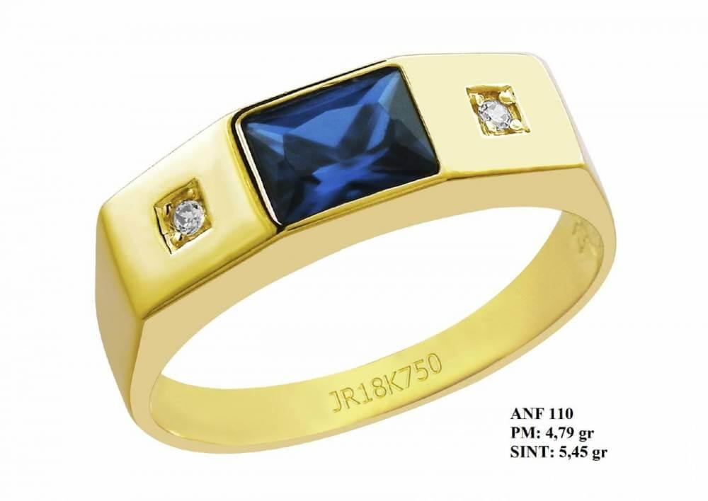 Anel de Formatura em Ouro 18k com Pedra Retangular Turmalina e Brilhantes em Zircônia