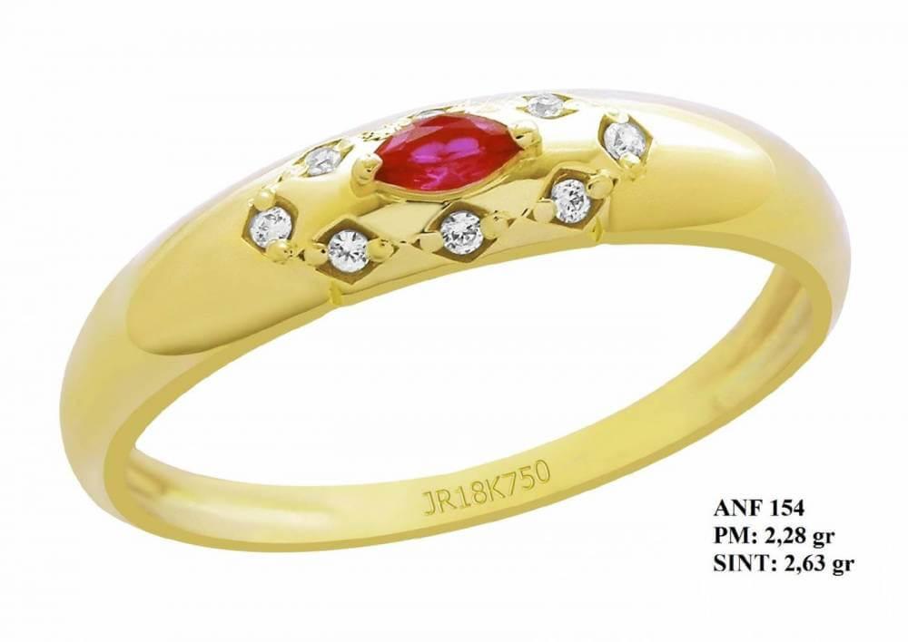 Anel de Formatura em Ouro 18k com Rubi e Brilhantes em Zircônia