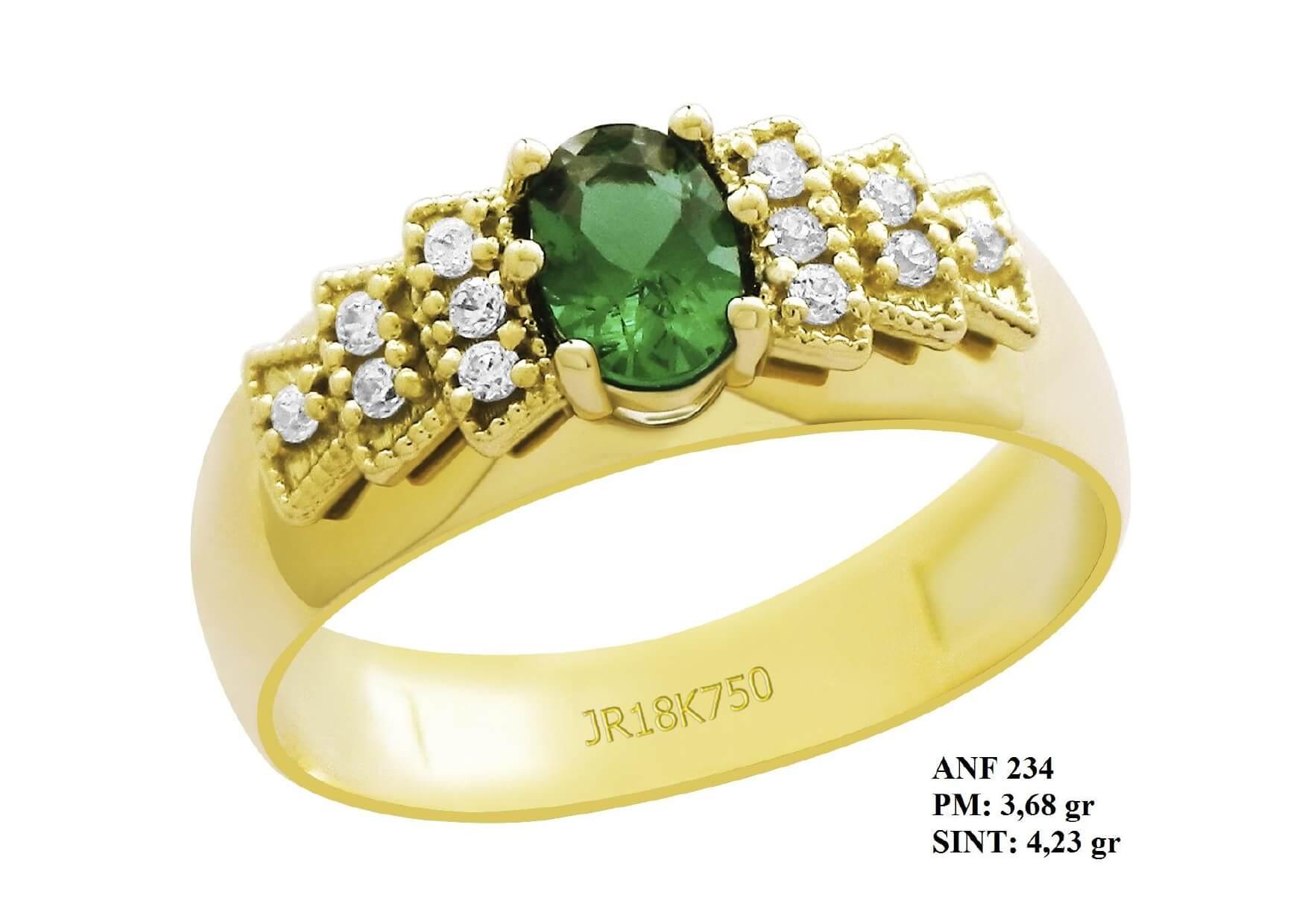 Anel de Formatura em Ouro 18k Esmeralda e Laterais Brilhantes em Zircônia