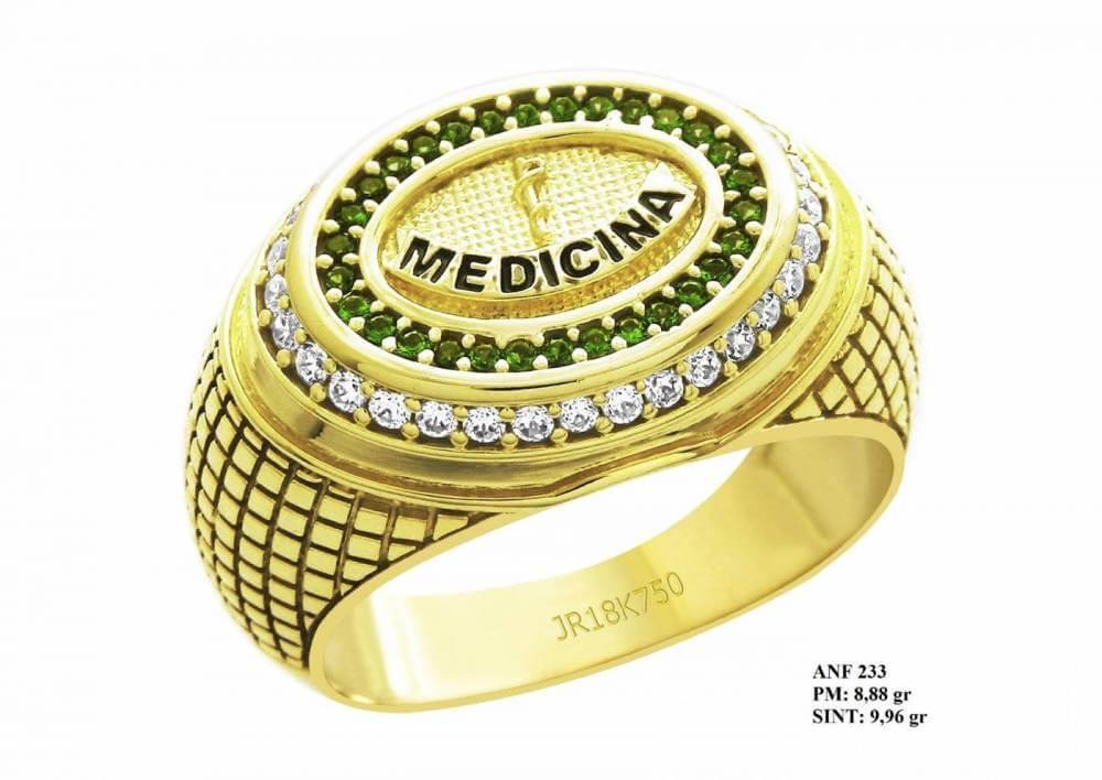 Anel de Formatura em Ouro 18k Esmeralda Medicina com Brilhantes em Zircônia