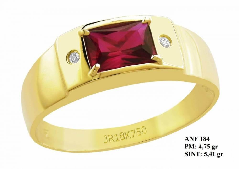Anel de Formatura em Ouro Amarelo 18k com Pedra Central Retangular Rubi e Brilhantes em Zircônia