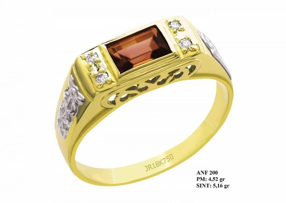 Anel de Formatura em Ouro Amarelo e Detalhes de Ouro Branco 18K Rubi Brilhantes em Zircônia