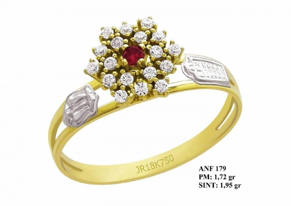 Anel de Formatura Flor em Ouro Amarelo e Detalhes em Ouro Branco 18k Rubi e Brilhantes em Zircônia