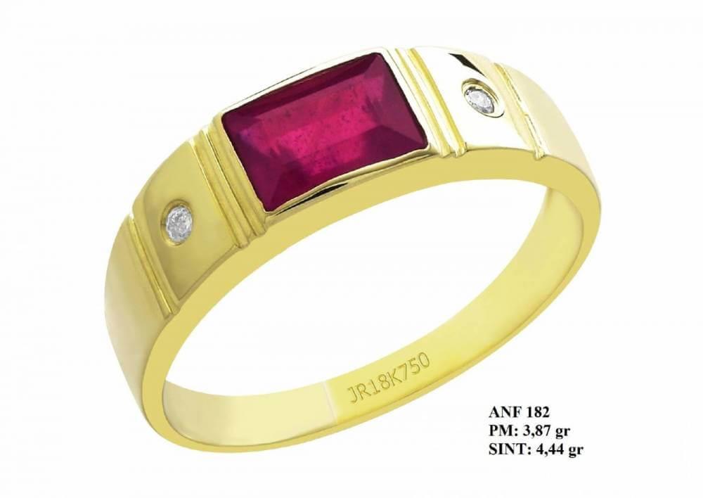 Anel de Formatura Glory em Ouro 18k Pedra Central Retangular de Rubi e Brilhantes em Zircônia