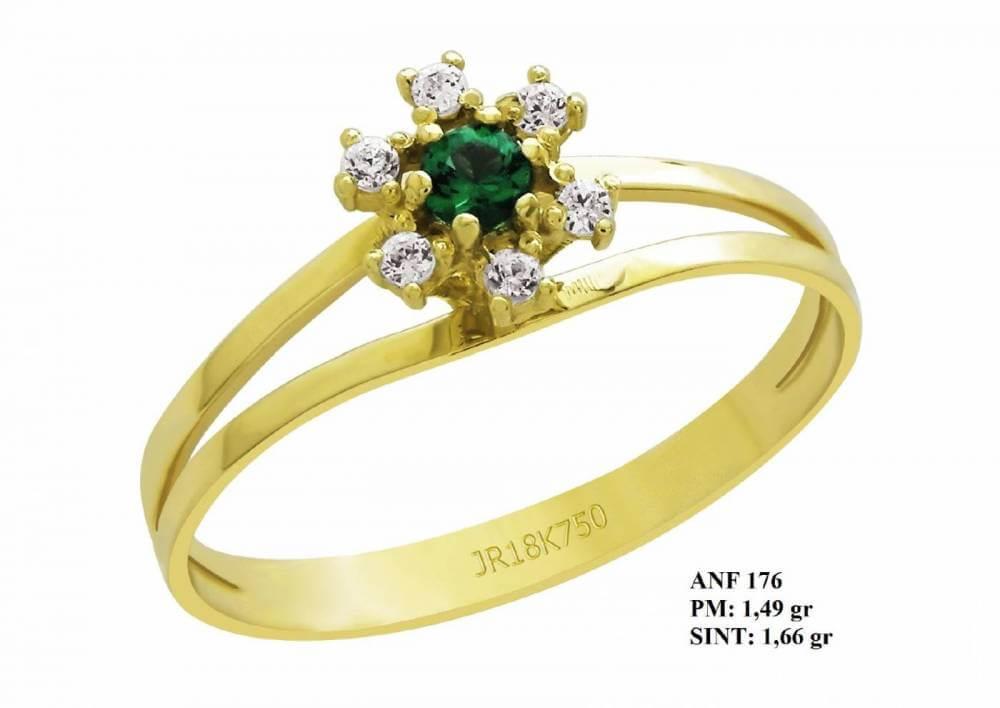 Anel de Formatura Life em Ouro 18k Esmeralda e Brilhantes em Zircônia