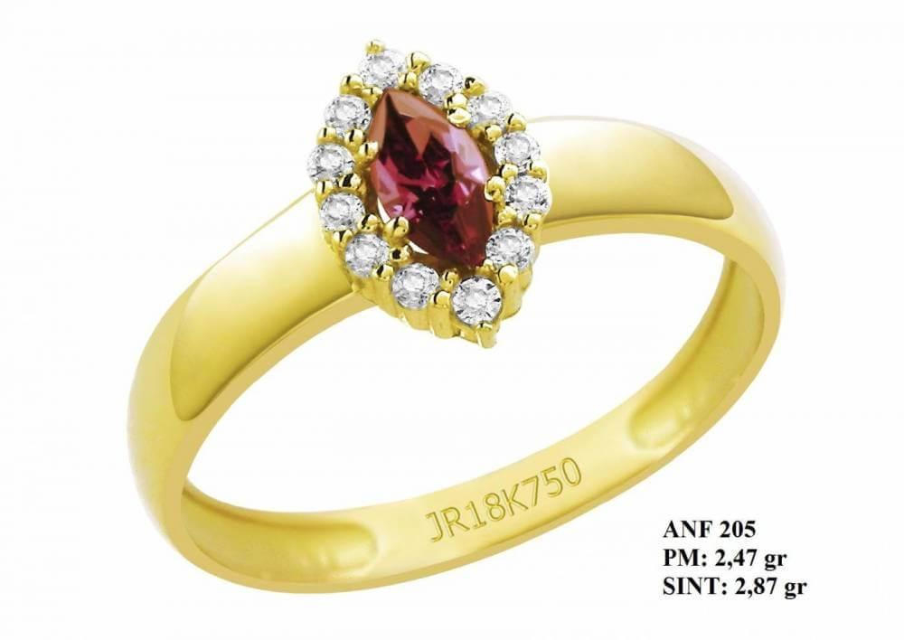 Anel de Formatura Lua em Ouro 18k Amarelo Rubi e Brilhantes em Zircônia