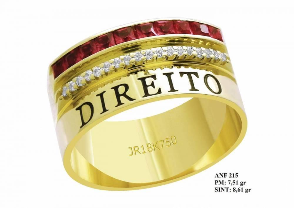 Anel de Formatura para Direito em Ouro 18k Amarelo Pedra Rubi e Brilhantes em Zircônia