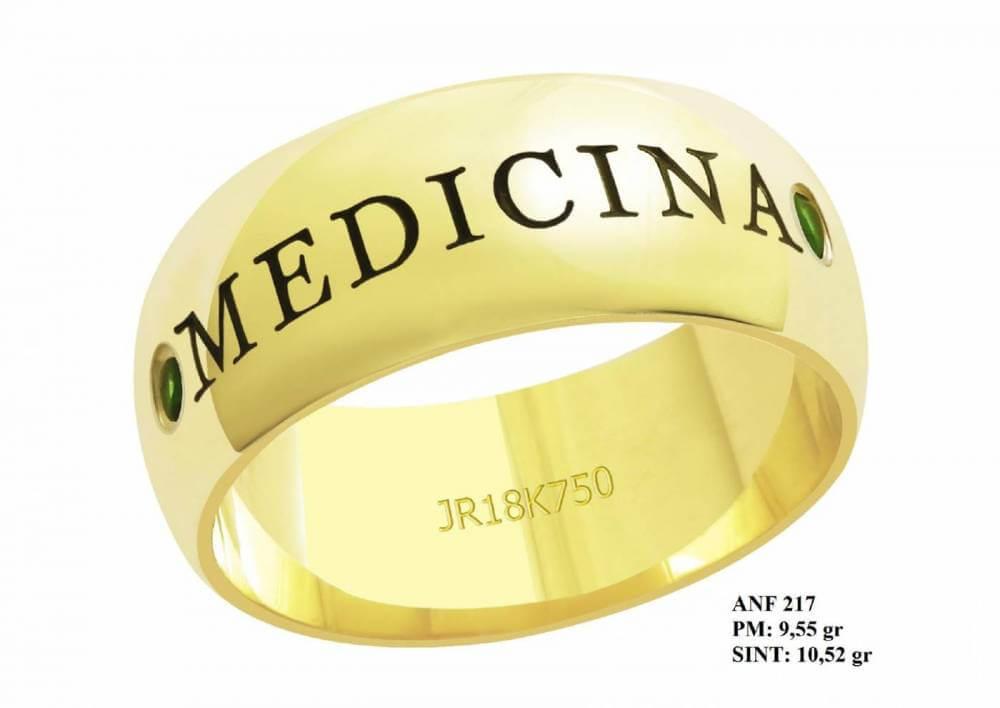 Anel de Formatura para Medicina em Ouro 18k Abaulado Pequenas Pedras Esmeralda
