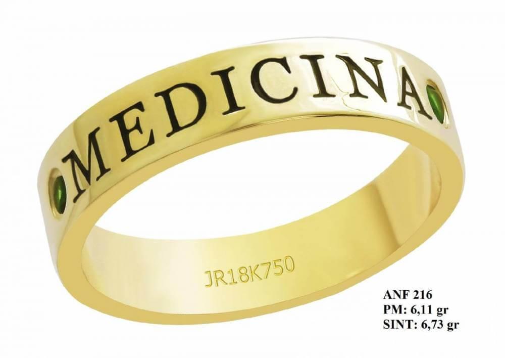 Anel de Formatura para Medicina em Ouro 18k Amarelo Esmeralda