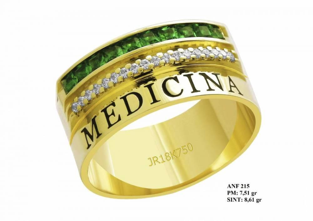Anel de Formatura para Medicina em Ouro Amarelo 18K Esmeralda e Brilhante em Zircônia