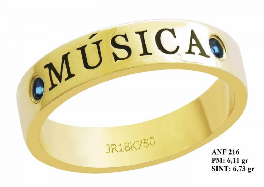 Anel de Formatura para Musica em Ouro 18k Amarelo Pequenas Pedras de Turmalina.