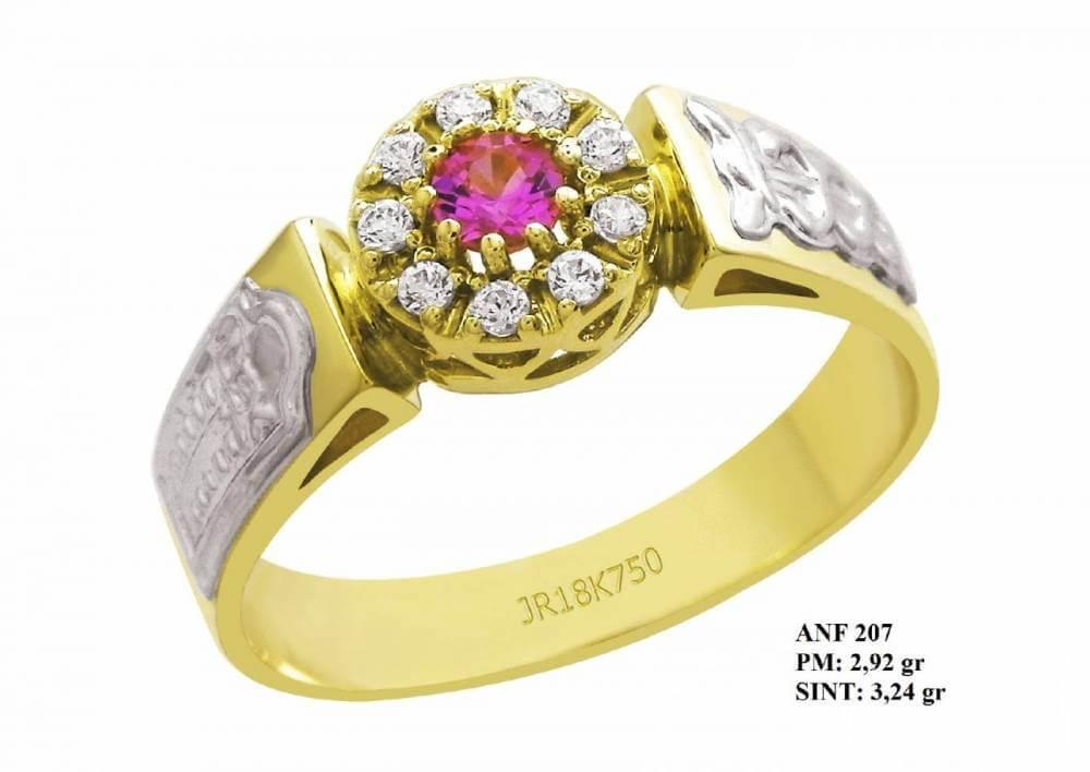 Anel de Formatura Queen Ouro 18k Amarelo com Detalhes em Ouro Branco Rubi e Brilhante Zircônias